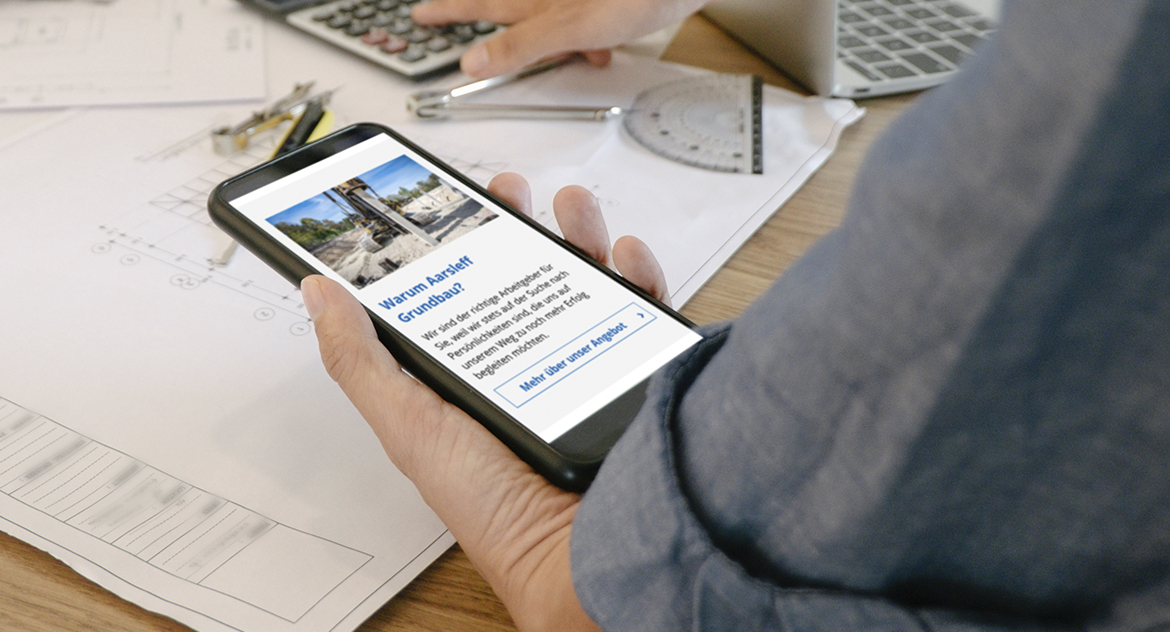 Aarsleff Grundbau Website Mobile Ansicht