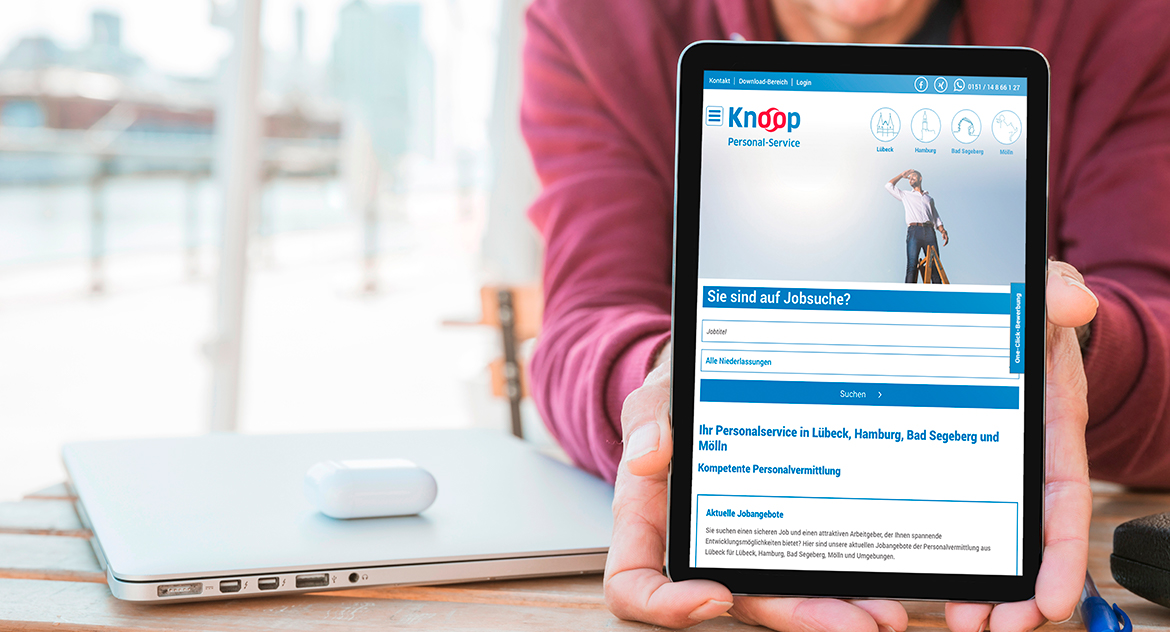 Knoop Personal-Service Website Tablet Ansicht
