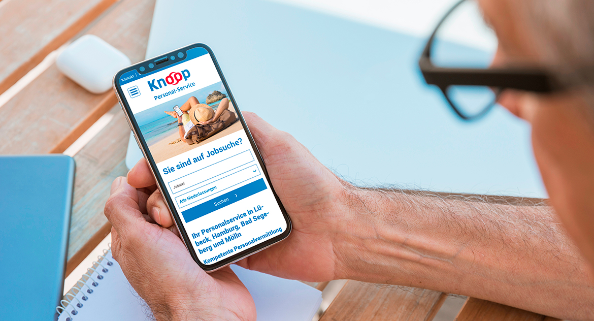 Knoop Personal-Service Website Mobile Ansicht